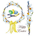 easter wreath of white and yellow narcissus vector image vector image
