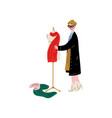 female tailor character sewing dress on vector image vector image