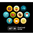 Flat icons set 38 - food and drink collection vector image vector image