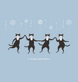 four cute black cats vector image vector image