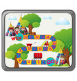 game template with kids and teepee vector image vector image