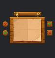game ui kit template wooden menu vector image vector image