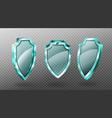 glass shields set blank blue acrylic screen panels vector image