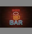 glowing neon signboard beer bar on brick wall vector image vector image