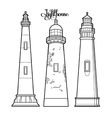 Graphic lighthouses set vector image