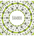 Green bamboo circle frame doodle label for vector image