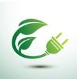 green eco power plug vector image vector image