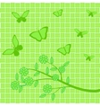 Green flowers and butterflies on green background