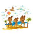happy active family hiking through sea beach with vector image