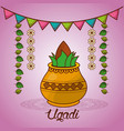 happy ugadi festival set template greeting card vector image vector image