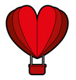 hot air balloon flying with heart shape vector image vector image