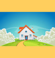 house inside nature landscape with clouds vector image