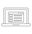 laptop icon outline style vector image