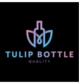 Logo combine tulip flower with bottle style in vector image vector image