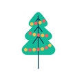 new year tree icon with color balls garland vector image
