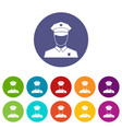 pilot set icons vector image vector image