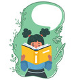 reading girl with book and speech bubble vector image