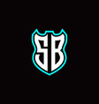 s b initial logo design with shield shape vector image vector image