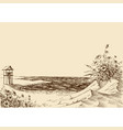 sea view from beach lifeguard tower in the vector image vector image