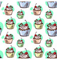 seamless pattern cupcake with cherry vector image vector image