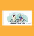 seniors riding bicycles landing page template man vector image