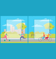 set of posters with people having fun in city park vector image vector image