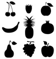 silhouettes of fruit vector image vector image