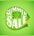 summer sale lettering design template on leaf vector image vector image