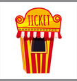 ticket booth office with yellow and red stripes vector image
