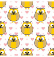 tile pattern with owls with pink hearts and dots vector image