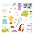 various stylized tennis vector image