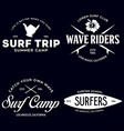 vintage surfing emblems for web design or print vector image vector image