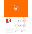 wall calendar planner template for march 2019 vector image