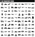 100 transport icon set simple style vector image