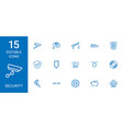 15 security icons vector image vector image