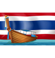 a boat in front thai flag vector image