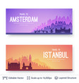 amsterdam and istanbul famous city scapes vector image