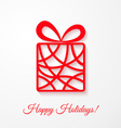Applique card with red gift box vector image vector image