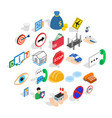 assist icons set isometric style vector image vector image