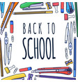 back to school lettering and hand-drawn graphic vector image