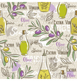 Background with olive bottle oil leafs and spice vector image