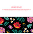 bright embroidery flowers banner template vector image