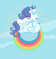card with a cute unicorn rainbow in the clouds vector image vector image