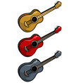 cartoon colored wooden acoustic guitar set vector image