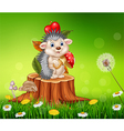 Cartoon funny hedgehog sitting on tree stump vector image vector image