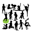 Children Sport Activity Silhouettes vector image vector image
