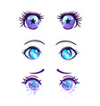 colorful beautiful eyes in anime manga style vector image