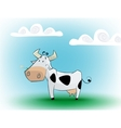 Cute black and white cow eating daisy vector image