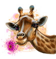 cute giraffe with a flower sticker on wall vector image vector image