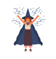 cute girl in witch hat and cloak conjures young vector image vector image